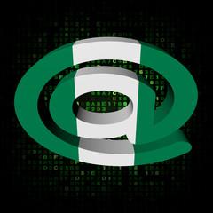 e-mail address symbol Nigerian flag on hex illustration