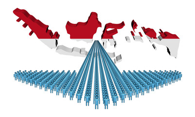 Arrow of people with Indonesia map flag illustration