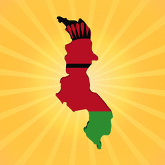Malawi map flag on sunburst illustration