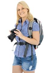 Wanderer mit Foto-Kamera