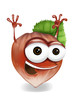 Happy hazelnut cartoon character, smiling and waving hands.