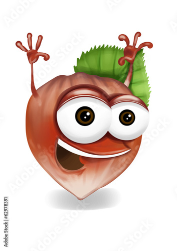 Happy hazelnut cartoon character, smiling and waving hands.