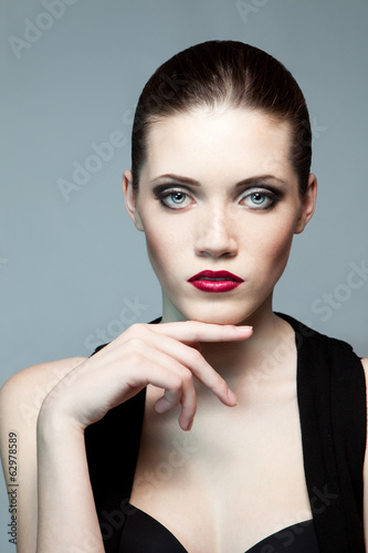 Fashion woman with dark make-up