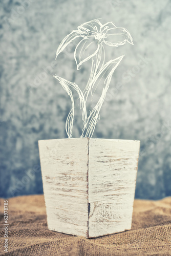 Flower pot with sketched flower