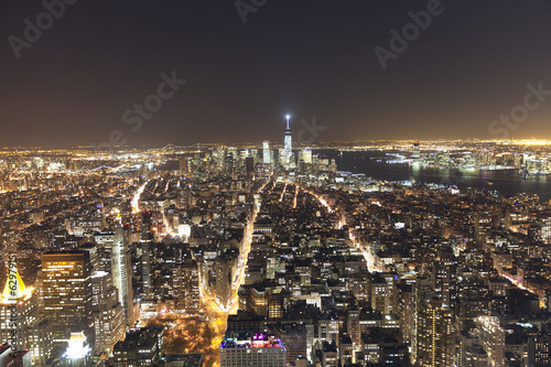 Panoramic view of Manhattan New York looking south from midtown