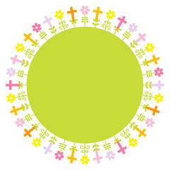 Confirmation Card Crosses & Flowers Meadow Frame Green