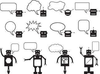 Set of robots and robot head talking