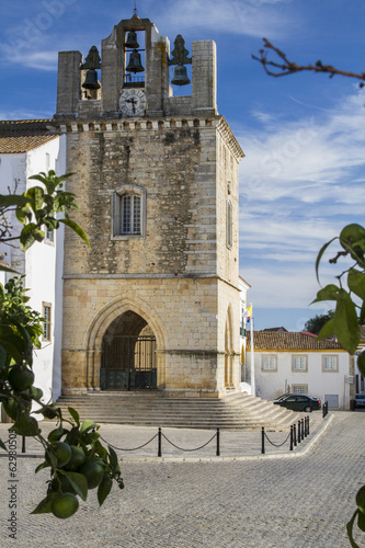View of the historical Church of Se located on Faro, Portugal.