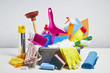 canvas print picture - House cleaning products pile on white background