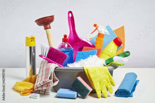 House cleaning products pile on white background - 62980700