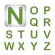 Green modern vector alphabet in white Background