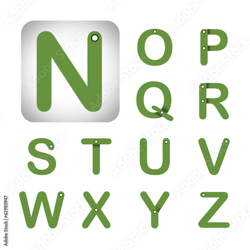Green modern vector alphabet in white Background