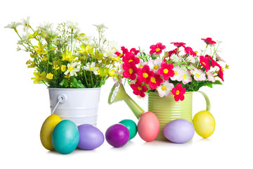 Easter eggs with spring flower in the basket