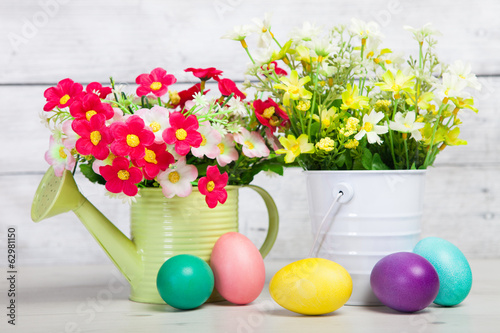 Easter eggs and flower