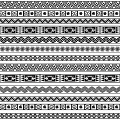 Abstract Black and White Ethnic Seamless Geometric Pattern.