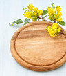 Cutting board with a blossoming branch