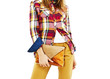 Young fashion woman in plaid shirt, holding a handbags