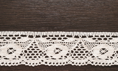 cotton lace on the wooden table