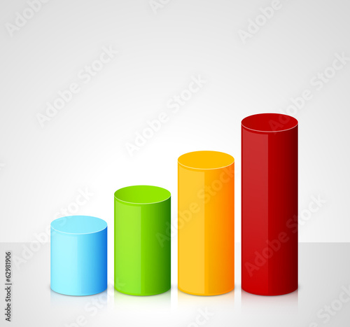 Infographic template with colorful cylinders