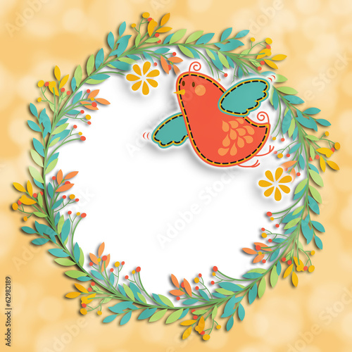 Wreath Bird Background Layout