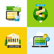 Flat vector design of make money concept with financial icons