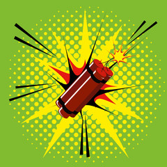 Comic Style Dynamite Isolated On Background