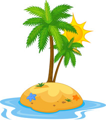 Illustration of tropical island