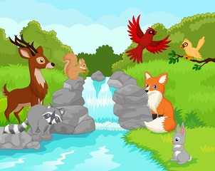 Beautiful waterfall with wild animals