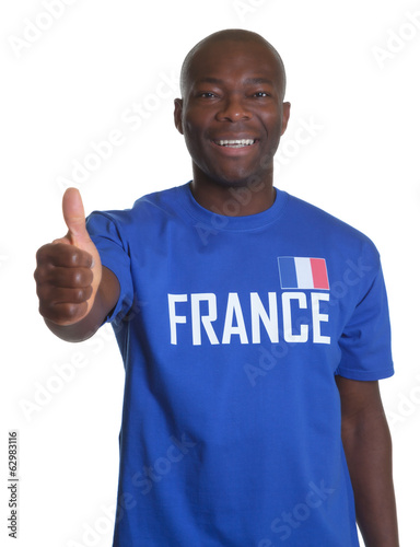 French sports fan showing thumb up
