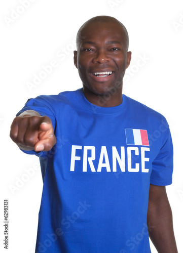 French sports fan pointing at camera