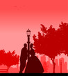 Wedding couple in park posturing silhouette