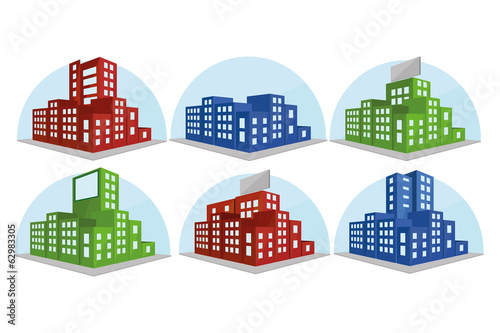 Set Of Different Building Icons Isolated