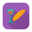 Bread and wine single icon.