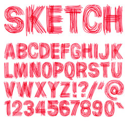 Hand drawn sketchy alphabet.