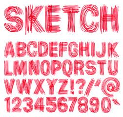 Hand drawn sketchy alphabet.