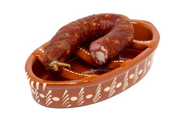 traditional portuguese pottery for grilling chorizos.