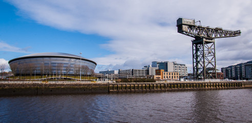 View of the Hydro concert arena with Finnieston crane on the sid