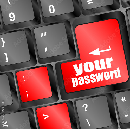 your password button on keyboard keys - security concept