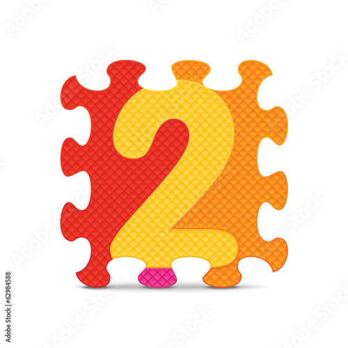 Vector number 2 written with alphabet puzzle
