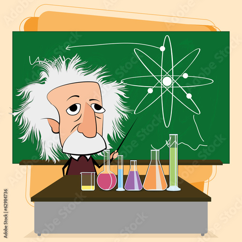 Albert Einstein Cartoon In A Classroom Scene