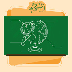 Chalkboard With A Drawing Of A Globe And A Magnifying Glass