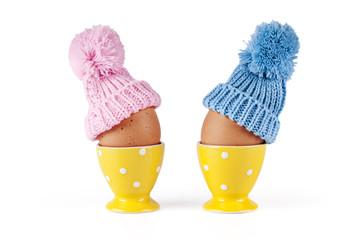 maschio femmina uova Pasqua sfondo bianco