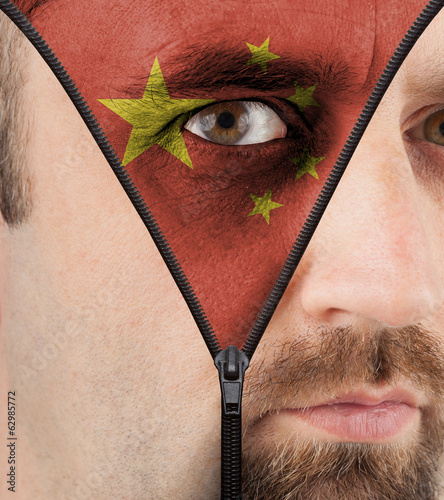 Unzipping face to flag of China
