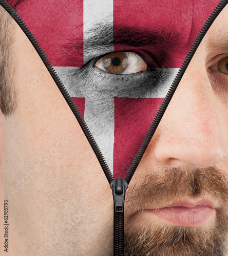 Unzipping face to flag of Denmark