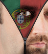 Unzipping face to flag of portugal