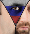 Unzipping face to flag of Russia