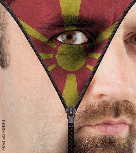 Unzipping face to flag of Macedonia