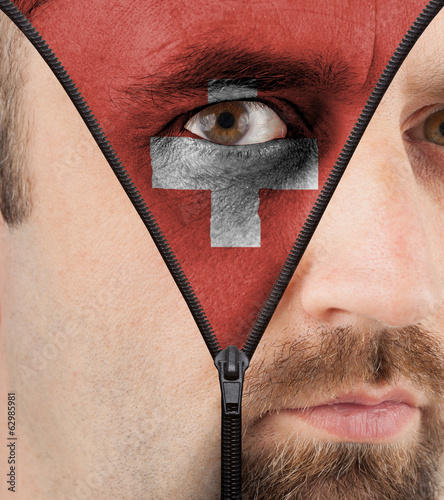 Unzipping face to flag of Switzerland