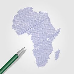 Africa map scribble style