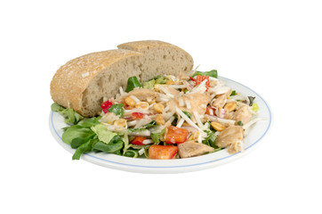 Salad with smoked chicken on a white background.